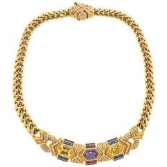 Bulgari 1980s Blue Yellow Sapphire Ruby Diamond Gold Necklace