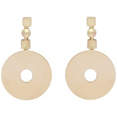 Bulgari 1980s Circular Disc Moveable Gold Clip on Earrings with Posts