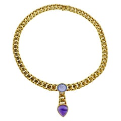 Bulgari 1980s Sapphire Amethyst Gold Necklace