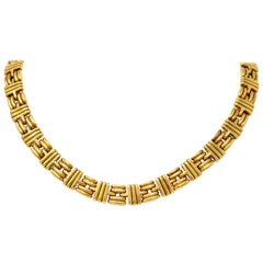 Bulgari 1980s Vintage 18 Karat Gold Italian Ribbed Link Collar Necklace
