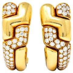 Bulgari 2.22 Carat Diamond 18 Karat Gold J Hoop Earrings, circa 1980