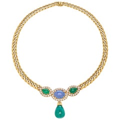 Bulgari 27 Carat Emerald Drop Yellow Gold Necklace with Sapphires and Diamonds
