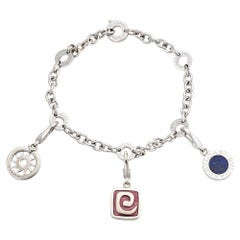 Bulgari 3 Charm Bracelet Estate 18k White Gold Sun Lapis Bvlgari Signed Jewelry