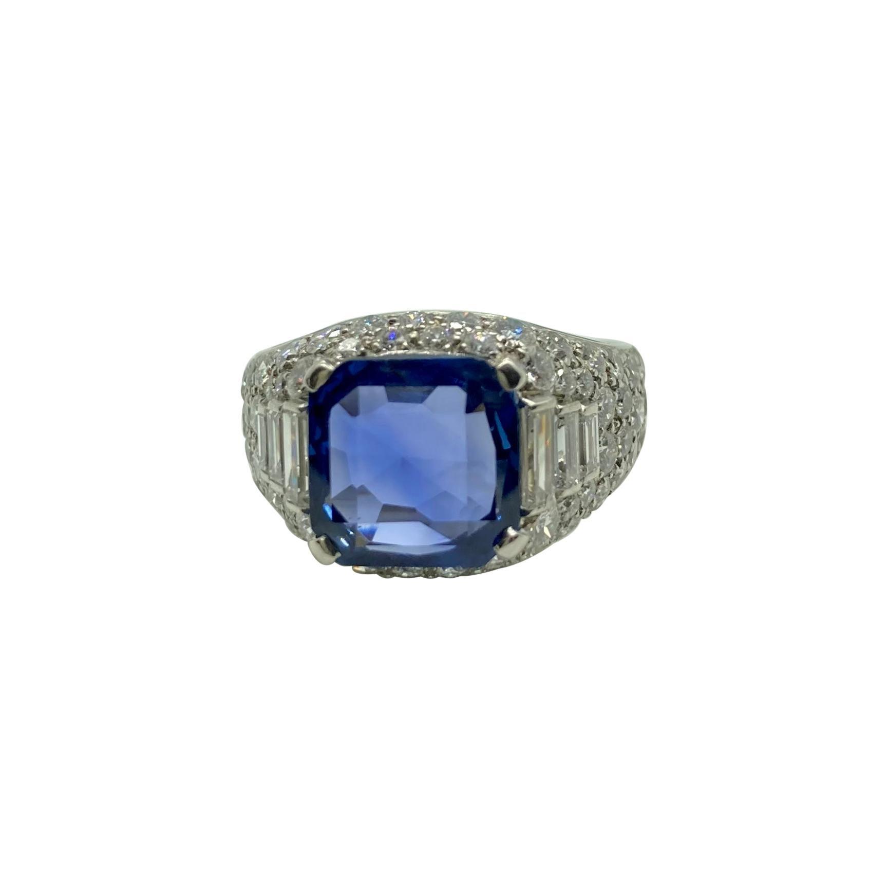Bulgari 3.75 Carat Burmese Sapphire & Diamond Trombino Ring