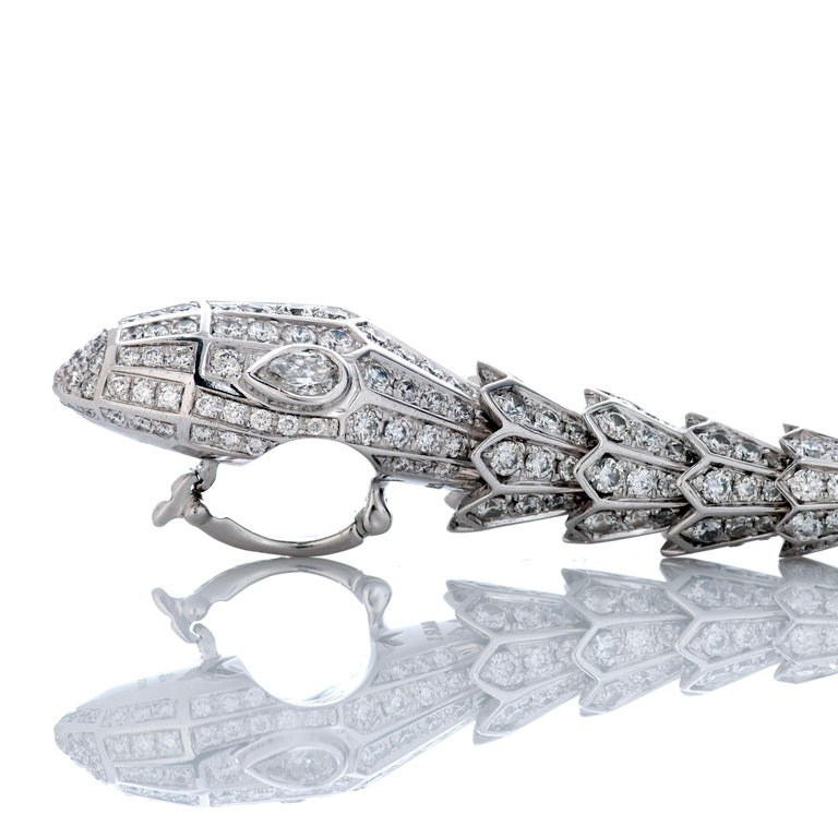 Bulgari Long Diamond Serpenti Snake Necklace in 18k White Gold In Excellent Condition For Sale In Philadelphia, PA