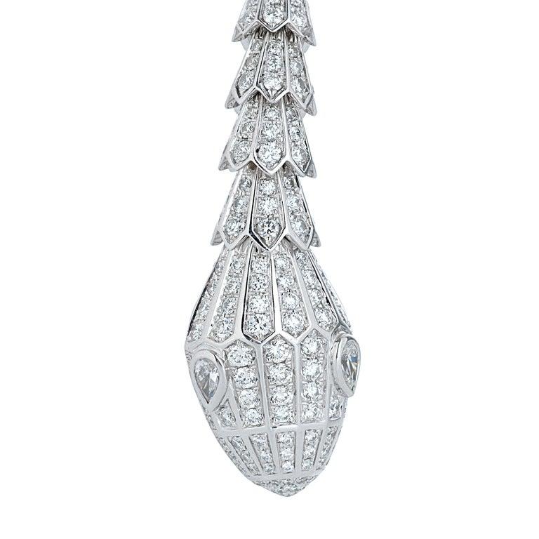 Women's Bulgari Long Diamond Serpenti Snake Necklace in 18k White Gold For Sale