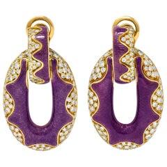 Bulgari 5.50 Carat Pave Diamond Enamel 18 Karat Gold Doorknocker Earrings