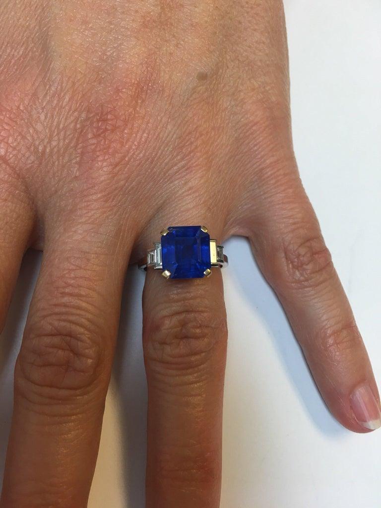 Women's Bulgari 6.54 Carat Natural Sapphire Diamond Ring For Sale