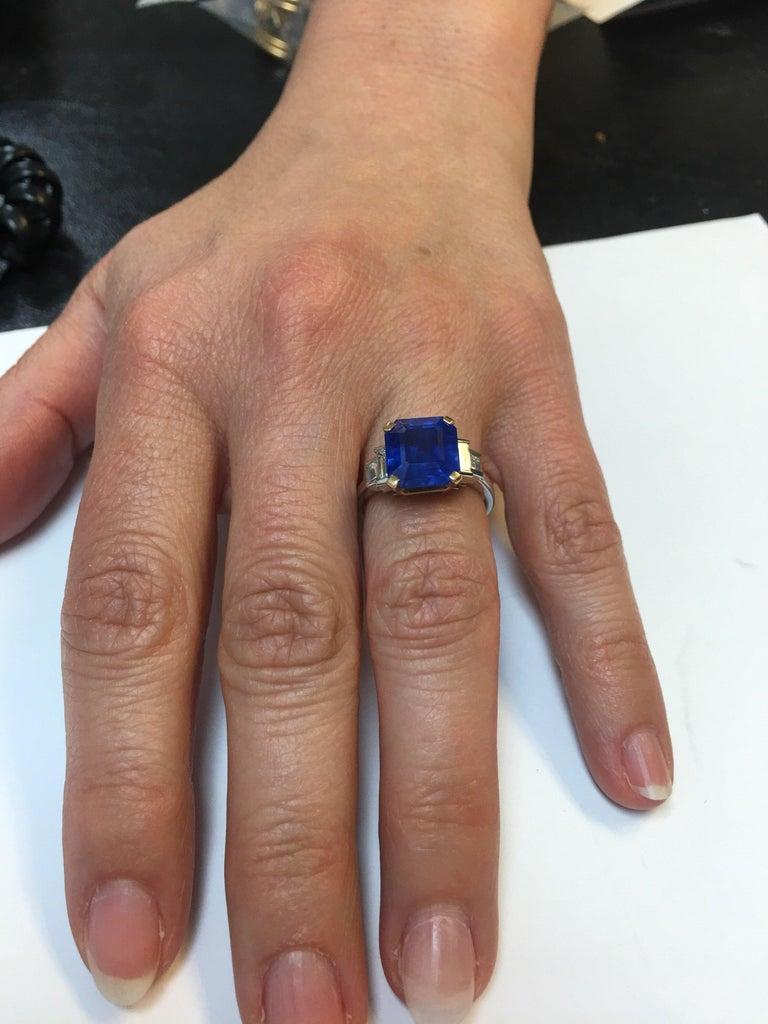 Bulgari 6.54 Carat Natural Sapphire Diamond Ring For Sale 1