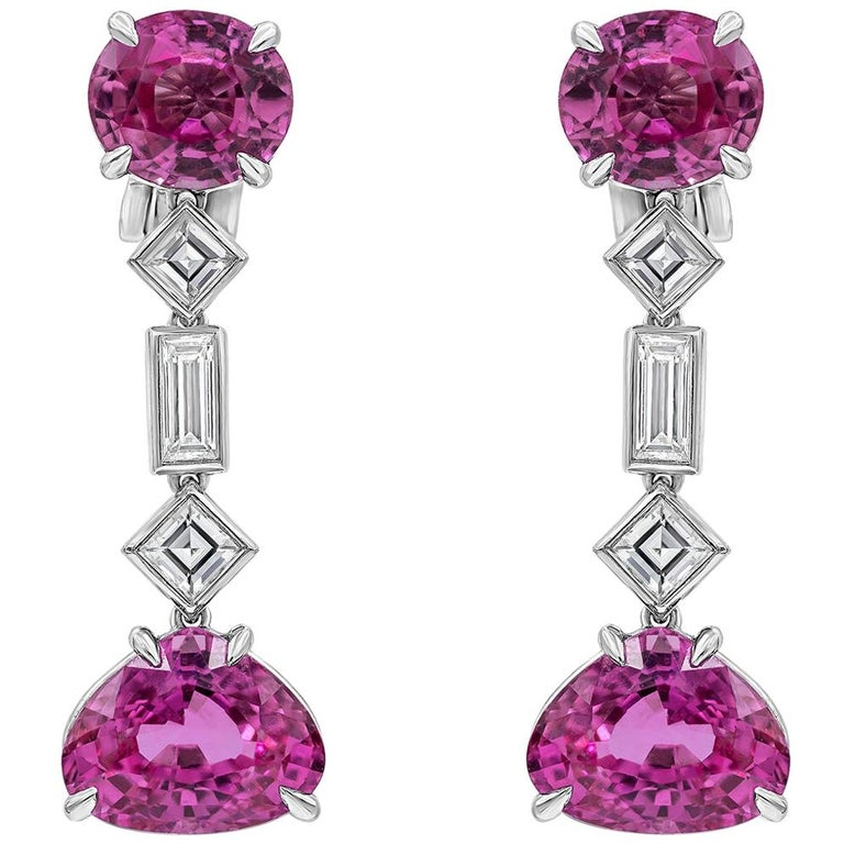 9.80 Carat Pink Sapphire and Diamond Clip-On Drop Earrings For Sale