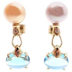 Bulgari Allegra Diamond Akoya Pearl Blue Topaz Yellow Gold Earrings