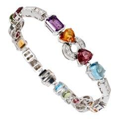 Bulgari Allegra Diamond and Gemstone White Gold Bracelet