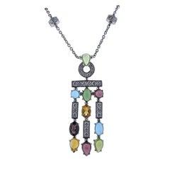 Bulgari Allegra Multi Gemstone Diamond Gold Pendant Necklace
