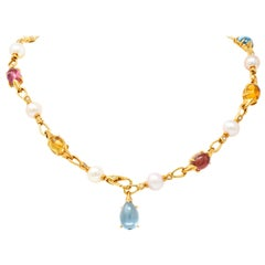 Bulgari Allegra Tourmaline Citrine Topaz Diamond 18 Karat Gold Station Necklace