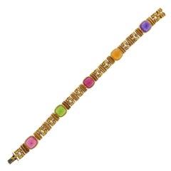 Bulgari Amethyst Citrine Peridot Tourmaline Gold Bracelet