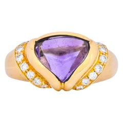 Bulgari Amethyst Diamond 18 Karat Gold Ring