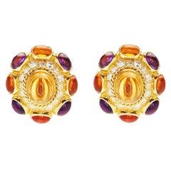 Bulgari Amethyst Diamond Citrine Earrings