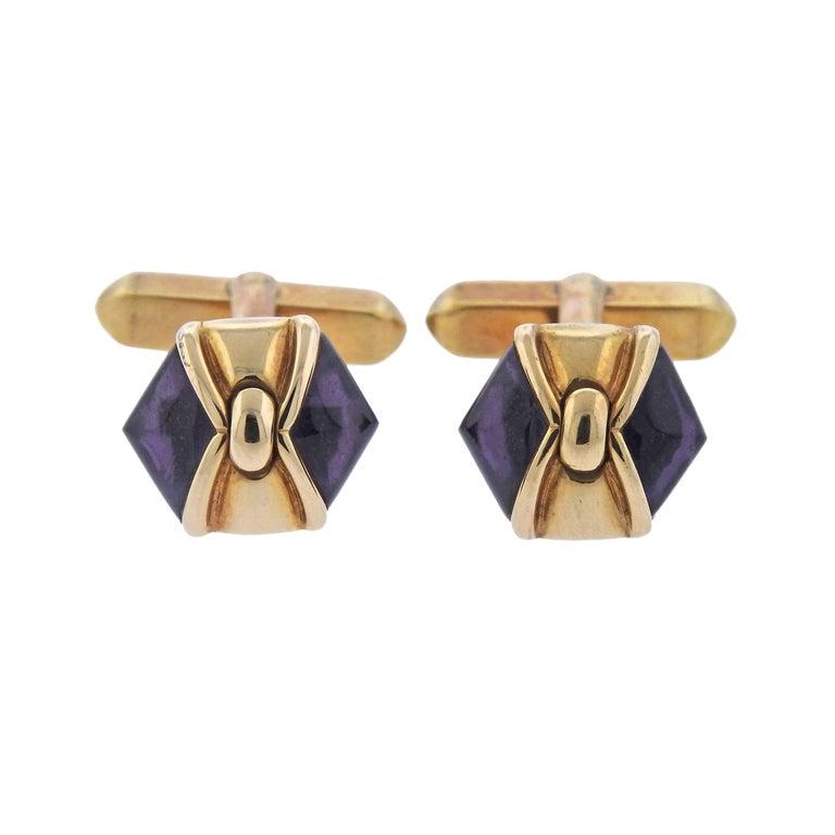 Bulgari Amethyst Gold Cufflinks
