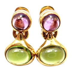 Bulgari Amethyst Peridot Yellow Gold Drop Earrings