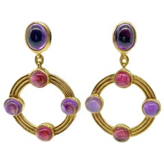 Bulgari Amethyst and Pink Tourmaline Yellow Gold Drop Earrings