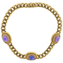Bulgari Amethyst Sapphire Diamond Gold Necklace