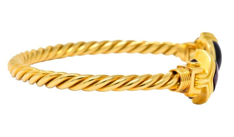 Modern Bulgari Amethyst Tourmaline 18 Karat Gold Italian Twisted Cuff Bracelet For Sale