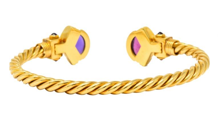 Bulgari Amethyst Tourmaline 18 Karat Gold Italian Twisted Cuff Bracelet In Excellent Condition For Sale In Philadelphia, PA