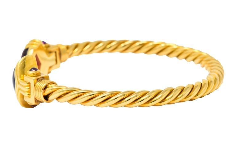 Women's or Men's Bulgari Amethyst Tourmaline 18 Karat Gold Italian Twisted Cuff Bracelet For Sale