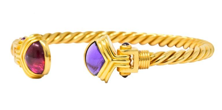 Bulgari Amethyst Tourmaline 18 Karat Gold Italian Twisted Cuff Bracelet For Sale 1