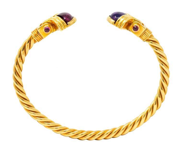 Bulgari Amethyst Tourmaline 18 Karat Gold Italian Twisted Cuff Bracelet For Sale 2