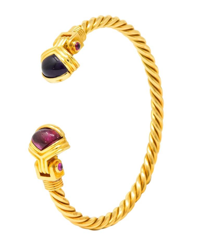 Bulgari Amethyst Tourmaline 18 Karat Gold Italian Twisted Cuff Bracelet For Sale 3