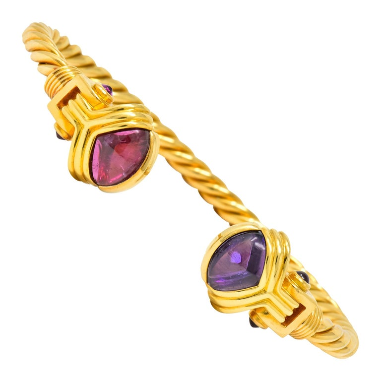 Bulgari Amethyst Tourmaline 18 Karat Gold Italian Twisted Cuff Bracelet For Sale