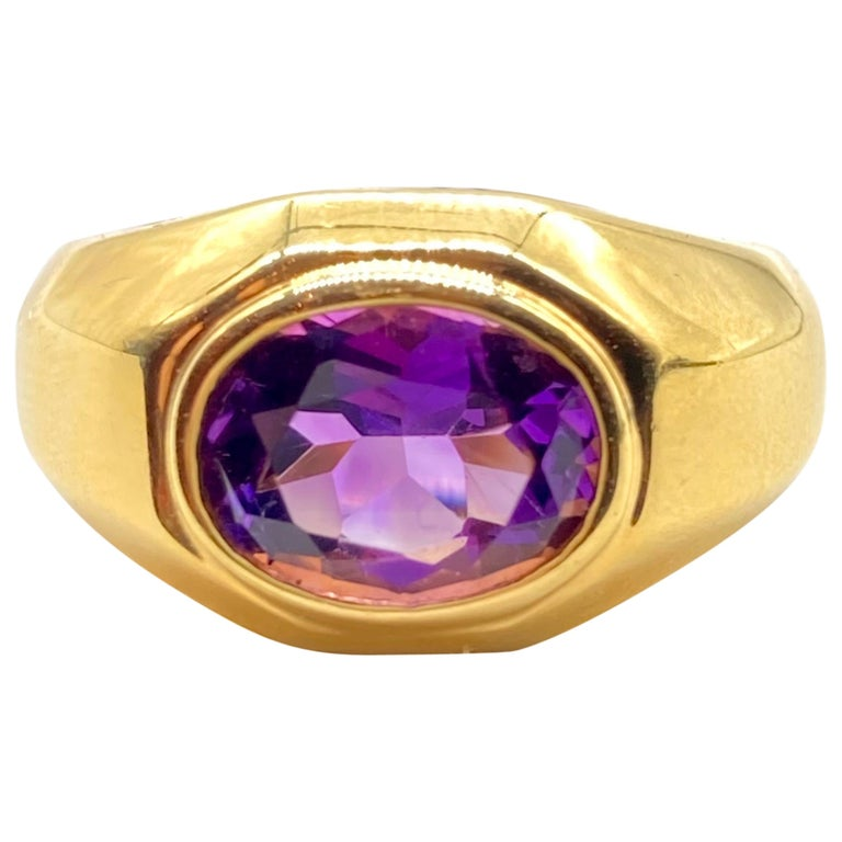 Bulgari Amethyst Yellow Gold Ring For Sale