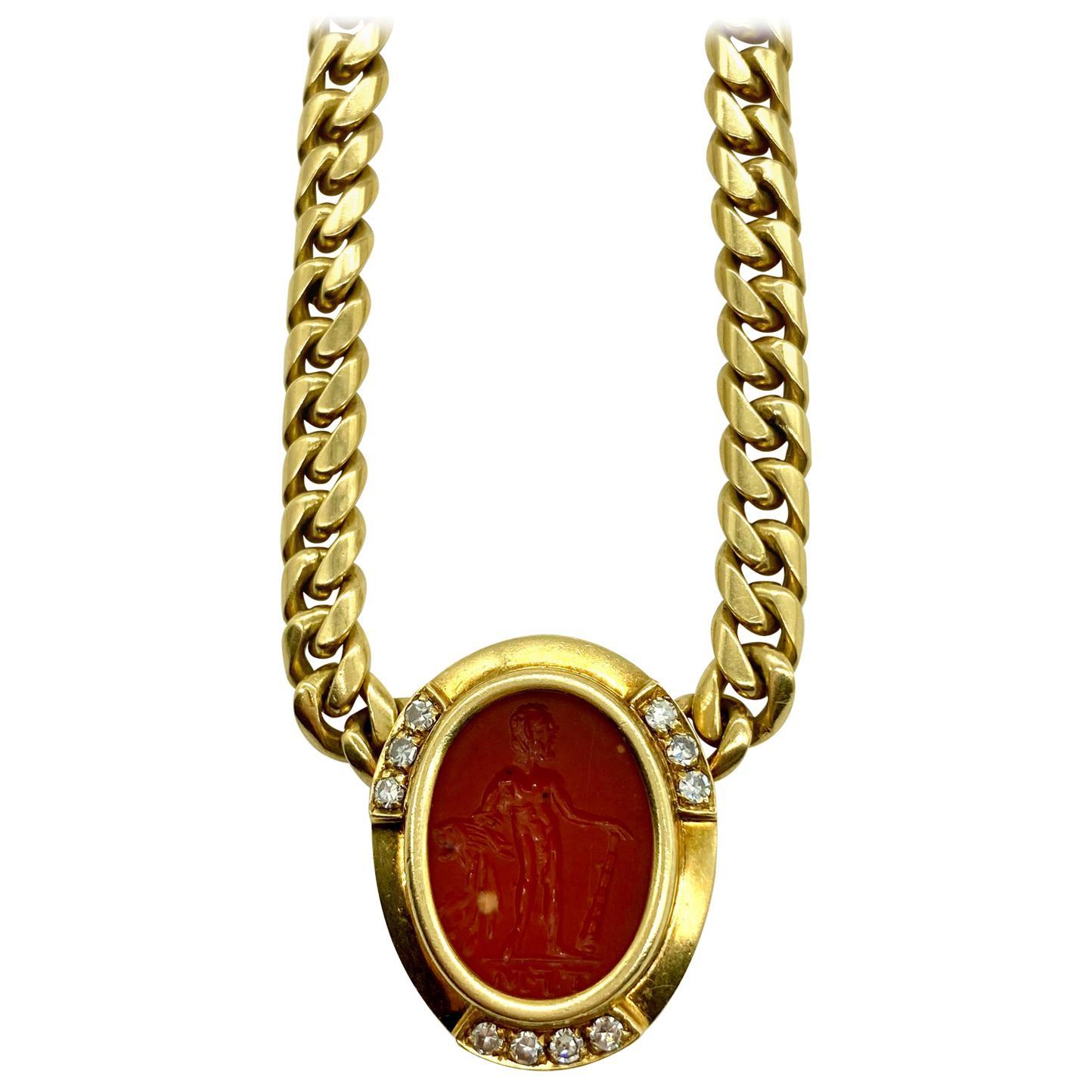 Bulgari Ancient Carnelian Intaglio and Diamond Yellow Gold Chain Necklace