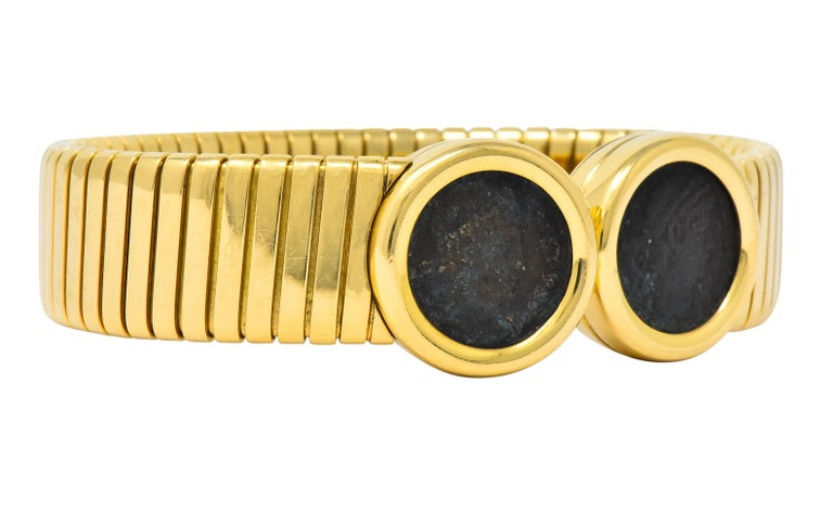 Contemporary Bulgari Ancient Coin 18 Karat Gold Monete Emperor Constans Rome Bangle Bracelet For Sale