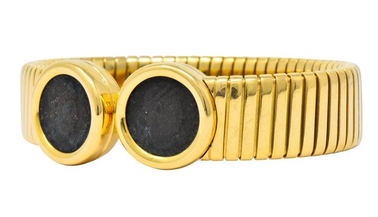 Bulgari Ancient Coin 18 Karat Gold Monete Emperor Constans Rome Bangle Bracelet For Sale 2