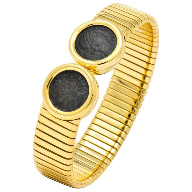 Bulgari Ancient Coin 18 Karat Gold Monete Emperor Constans Rome Bangle Bracelet For Sale
