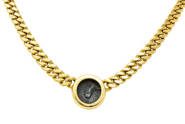 Contemporary Bulgari Ancient Coin 18 Karat Yellow Gold Monete Pegasus & Apollo Necklace For Sale