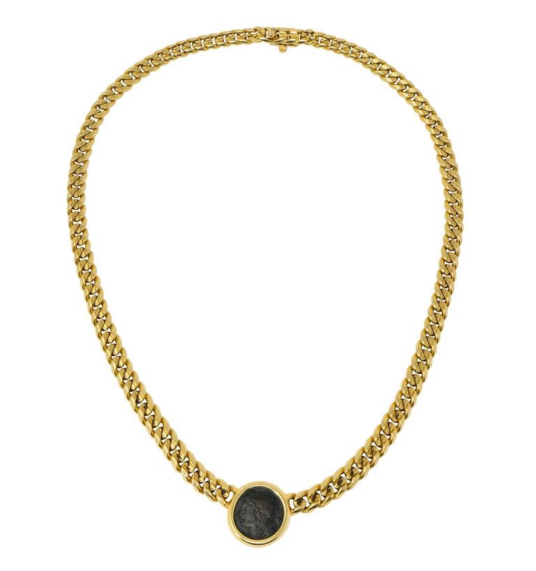Bulgari Ancient Coin 18 Karat Yellow Gold Monete Pegasus & Apollo Necklace For Sale 1