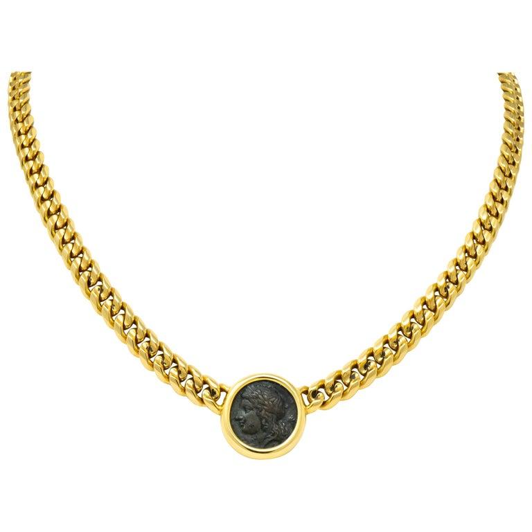 Bulgari Ancient Coin 18 Karat Yellow Gold Monete Pegasus & Apollo Necklace For Sale