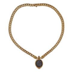 Bulgari Ancient Coin Alessandro Magno Dramma Emerald Gold Necklace