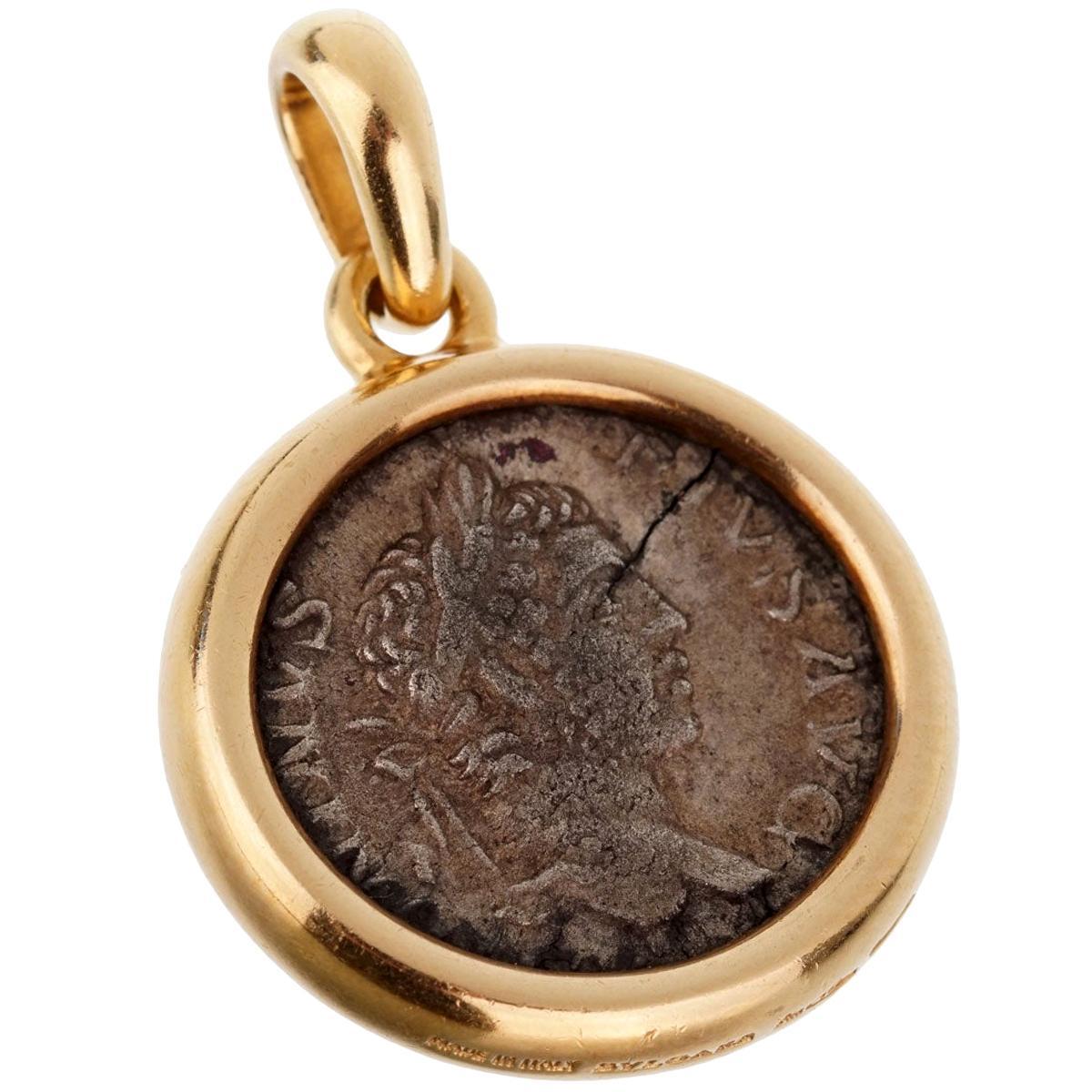 Bulgari Ancient Coin Gold Pendant Necklace