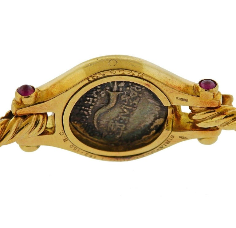 Bulgari Ancient Coin Ruby Gold Bracelet In Excellent Condition For Sale In Boca Raton, FL