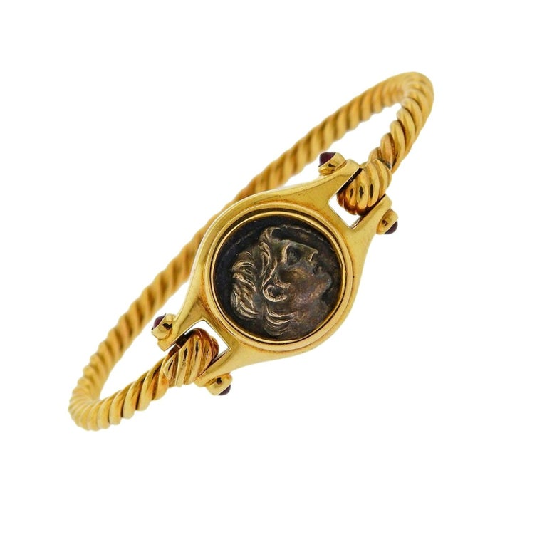 Bulgari Ancient Coin Ruby Gold Bracelet For Sale