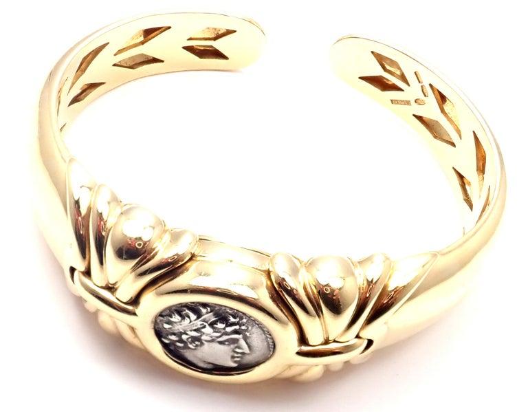 Bulgari Ancient Coin Yellow Gold Bangle Bracelet For Sale 4