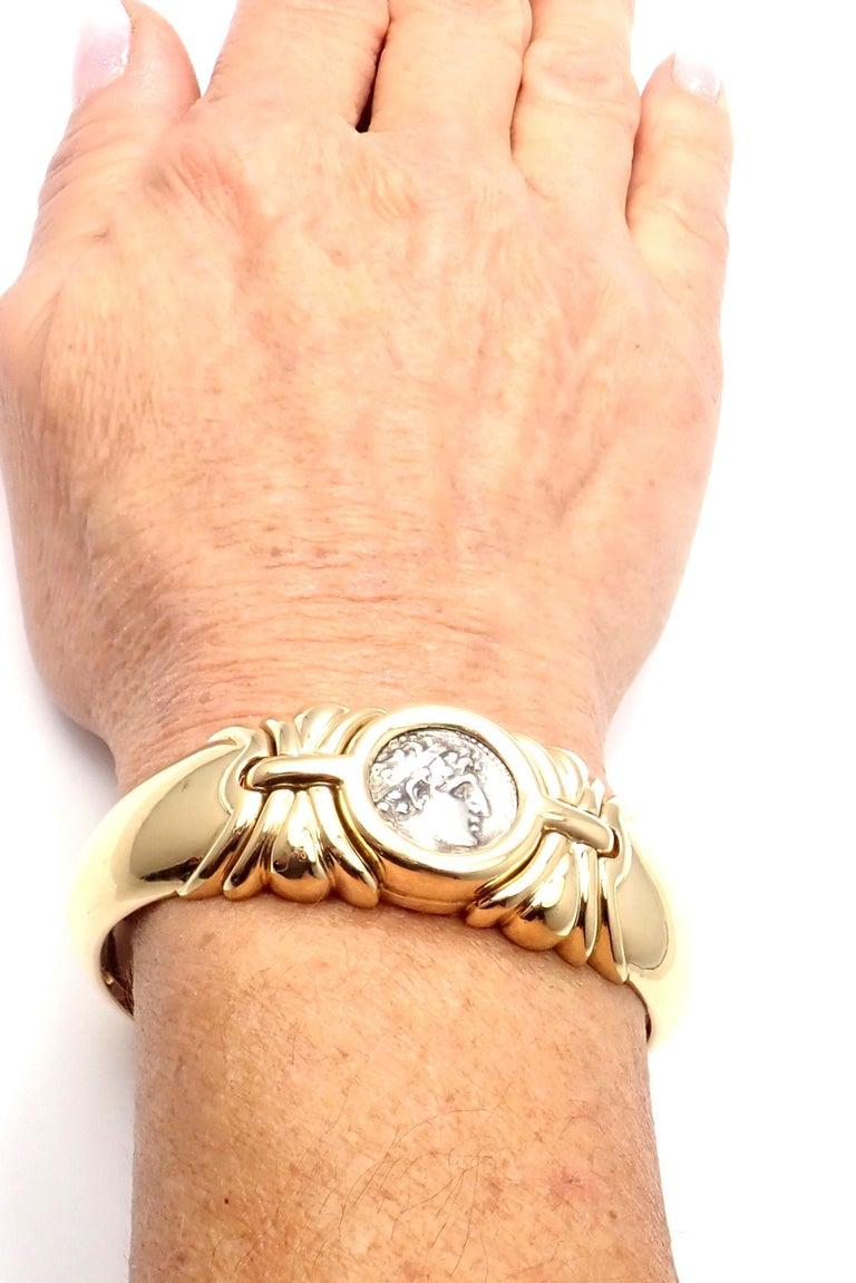 Bulgari Ancient Coin Yellow Gold Bangle Bracelet For Sale 5