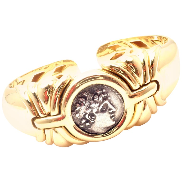 Bulgari Ancient Coin Yellow Gold Bangle Bracelet For Sale