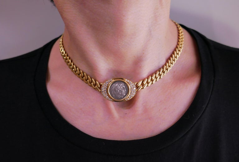 Signature Bulgari coin necklace from Monete Collection. Bold, elegant and wearable, the necklace is a great addition to your jewelry collection. The necklace is made of 18 karat yellow gold and features an ancient Roman coin dated 336-323 A.C.