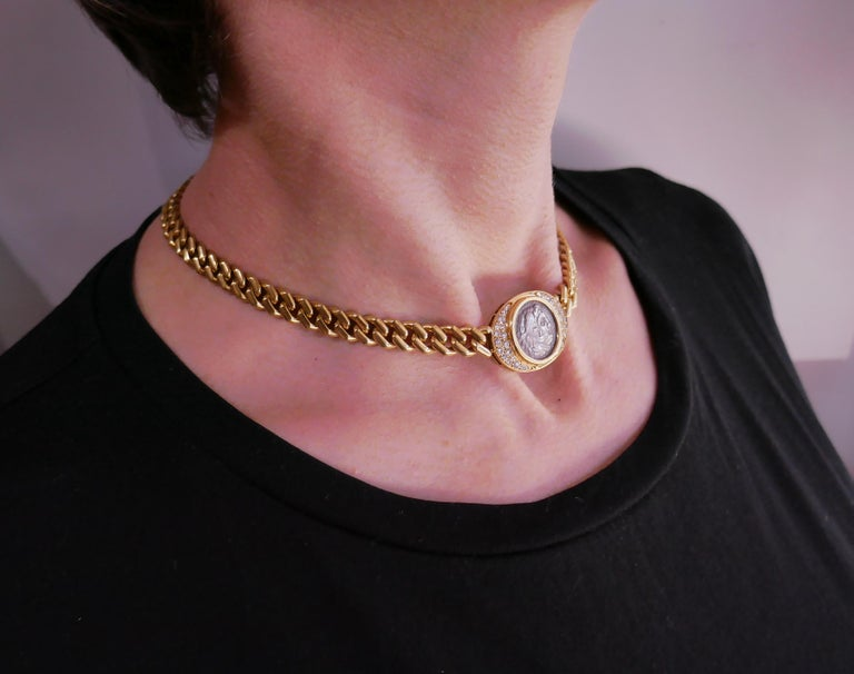 Bulgari Ancient Coin Yellow Gold Chain Necklace with Diamond Bvlgari In Excellent Condition In Beverly Hills, CA