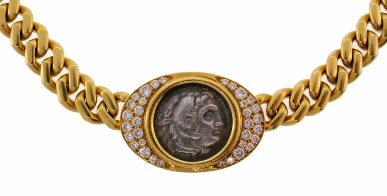 Women's Bulgari Ancient Coin Yellow Gold Chain Necklace with Diamond Bvlgari